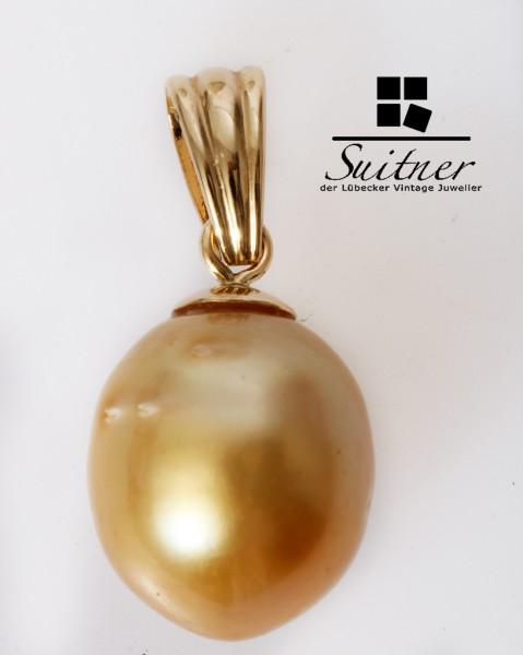 feine goldene Südsee Perle Anhänger 585 Gold Champagner Barock