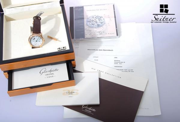 Glashütte Original Senator Auf und Ab 750 Roségold Gold Box Papiere Mondphase
