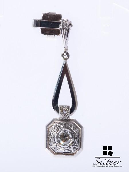 Art Deko Anhänger Pendant Platin 585 Gold Diamant für Lavaliere