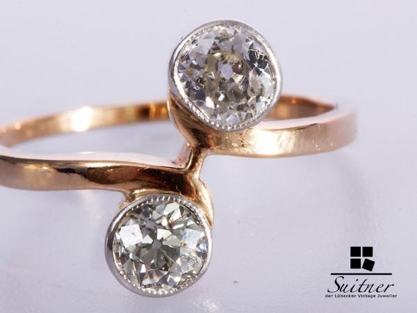 Art Deco Ring 585 Gold Diamanten zus. ca. 0,75 ct. Toi-et-Moi Gr. 55