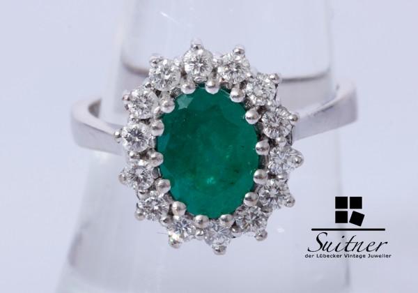 2,32ct. großer Smaragd Brillant Ring 585 Weißgold Gr. 54 Gold Entourage
