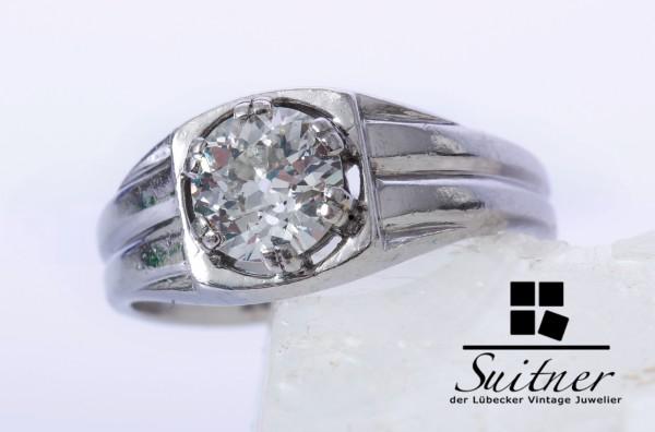 antiker 1,00ct Diamant Ring aus 585 Weißgold Gr. 53 Bandring