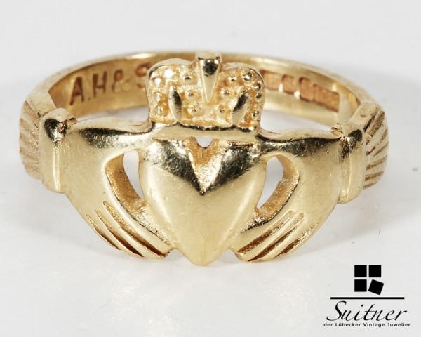 antiker irischer Claddagh Ring Hände Herz Krone England Gold
