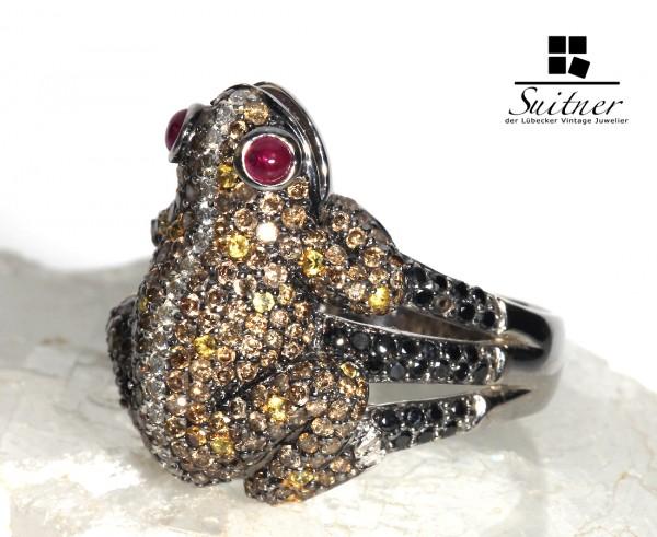 Frosch Ring aus Weißgold mit Brillanten und Rubinen