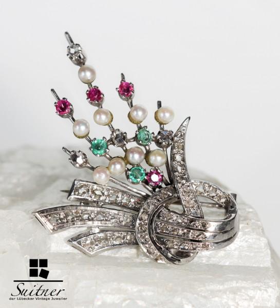 antike Art Deco Brosche Portugal Diamantrosen Smaragde 750 Weißgold selten