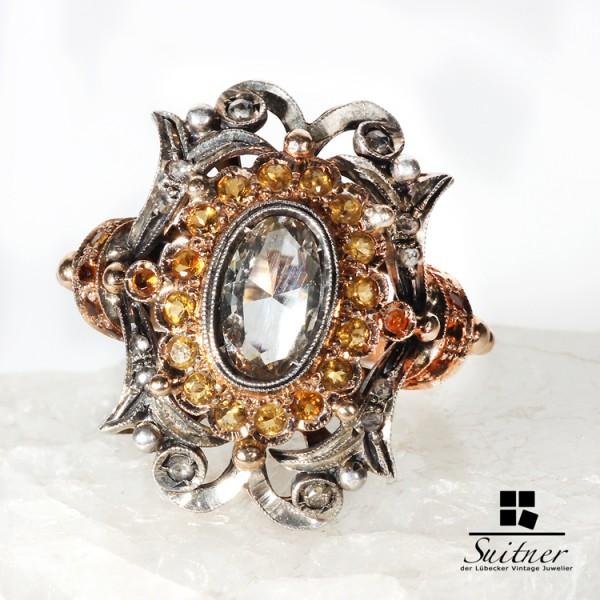 antiker Luxusring mit großem 11mm Diamanten und gelben Saphiren - einmalig