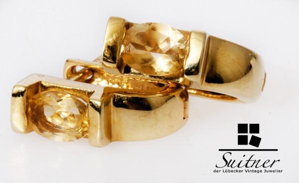moderne Citrin Ohrringe aus 585 Gold mit tollem gelben Steinbesatz