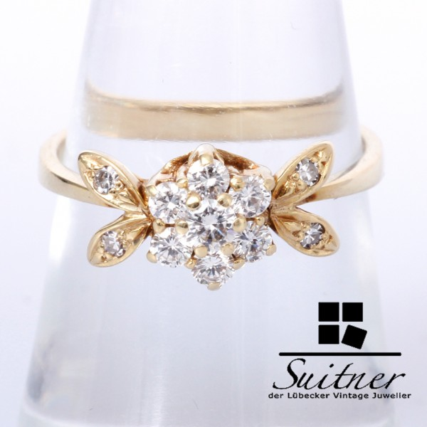 zarter Brillant / Diamant Ring zus. ca. 0,44 ct 585 Gold floral Blüte