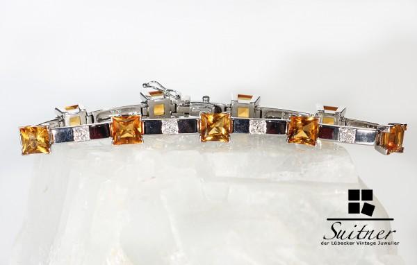 Armband mit Madeira Citrinen und Brillanten 750 Weißgold NP 3300,-