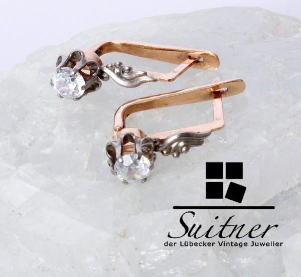 antike Ohrringe Russland 583 Roségold Gold 0,80ct. Steinbesatz Russia 585 Ohrhänger