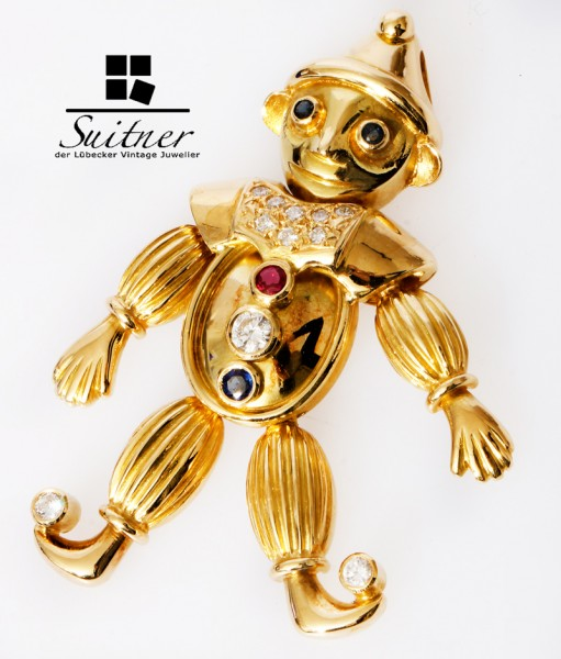 XL Harlekin Anhänger beweglich Saphir Rubin Brillant 750 Gold massiv NP: 8500,- Unikat