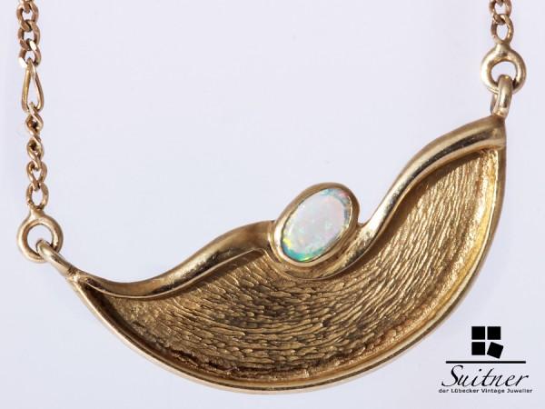 tolles Collier aus Gold mit Opal - Nugget und Figaro Dekor