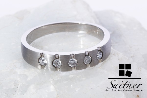 moderner Platin Ring mit 5 Brillanten Gr. 63 Bandring Vorsteckring