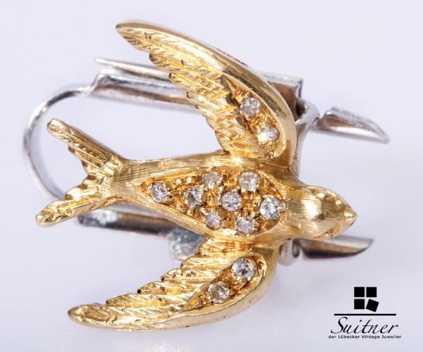 Brosche Schwalbe 750 Gold Weißgold Diamanten ca. 0,12ct Bird