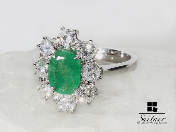 wertvoller Smaragd Ring mit Brillanten ca 2,32 ct. Weißgold Gr.53 Emerald Klassiker