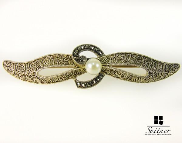 Theoder Fahrner Brosche aus Silber mit Perle und Markasit Filigranschmuck TF