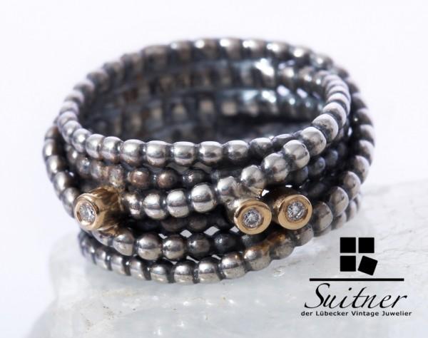 Pandora Ring 925 Silber 585 Gold mit 3 Brillanten Gr. 50