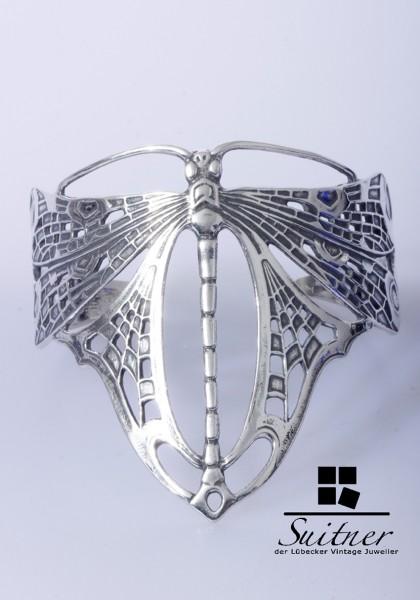 Hochwertiger Jugendstil Libellen-Armreif - 925er Silber