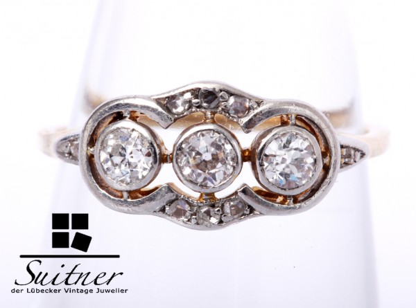 Art Deko Ring 6 Diamantrosen 3 Diamanten Altschliff ca. 0,21 ct 585 Gold / Platinauflage