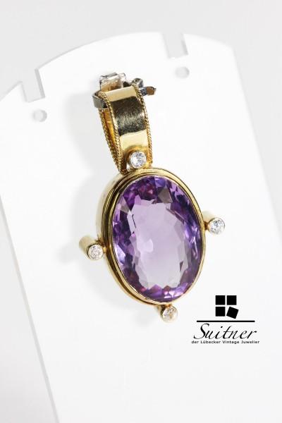Antiker 750 Gold Amethyst Anhänger Diamant Pendant lila