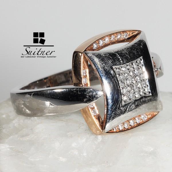 585er Weißgold / Roségold Ring Gr. 56