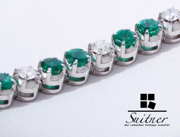3,72ct Tennisarmband Smaragd Brillant Armband 750 Weißgold prächtige Farbe