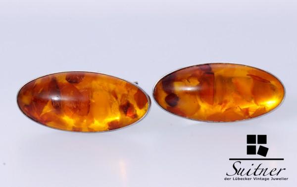 XL Fischland Manschettenknöpfe 835 Silber Bernstein Amber