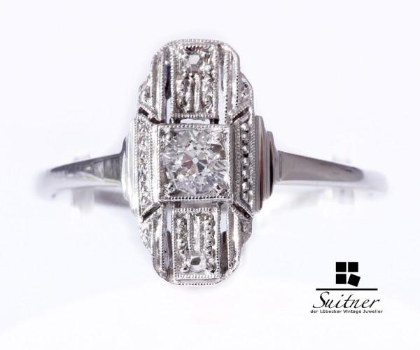 Art Deco Ring aus Weißgold 585 mit Diamanten Gr. 58