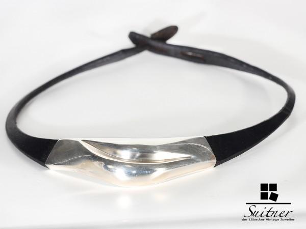 seltenes Collier Lapponia aus Silber mit Leder - Necklace Weckström