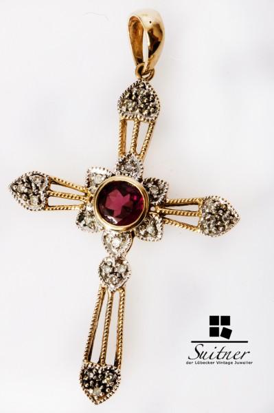 modernes Kreuz mit Diamanten und pinken Turmalin - Juwelen Kreuz 585 Gold
