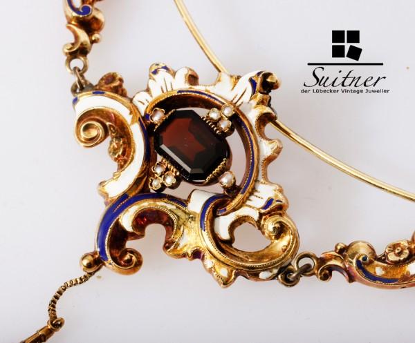 antikes Collier Russland Gold mit Almandin Granat und farbiger Emaille