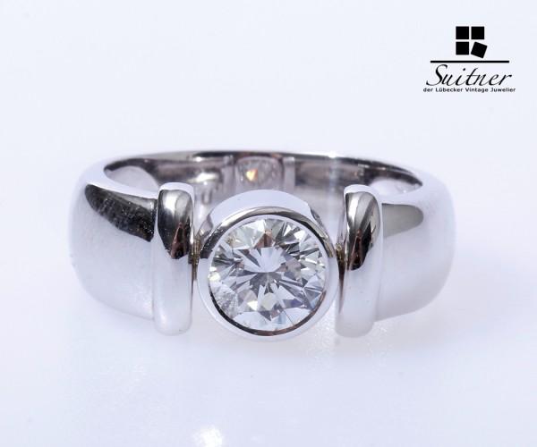 Solitär Brillant Ring ca. 1,10 ct. Einkaräter 750 Weißgold Gr. 54 IGI Zertifikat