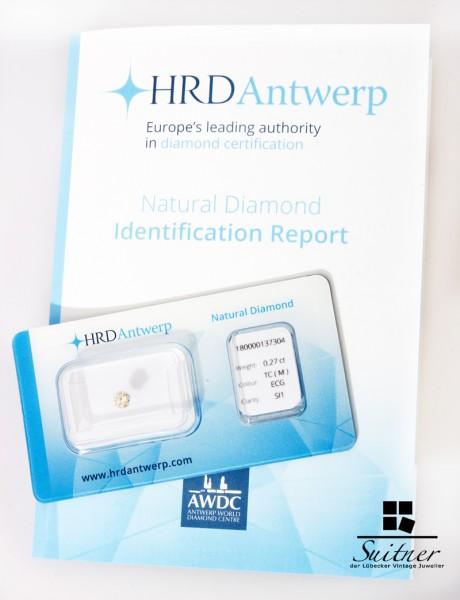 HRD 0,27ct Brillant mit Expertise im Blister Antwerpen