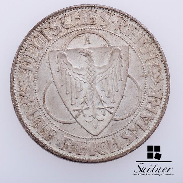 5 Mark Reichsmark der Rhein 1930 Prägestätte A fast VZ