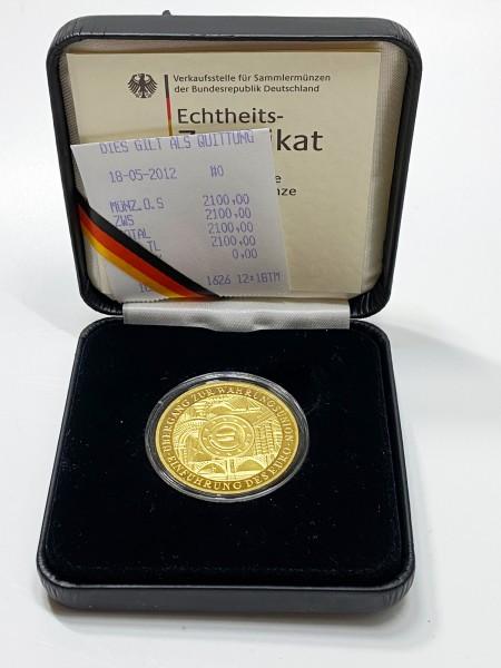 200 Euro Gold 2002 Prägestätte J mit Etui und Zertifikat 1 Unze OZ