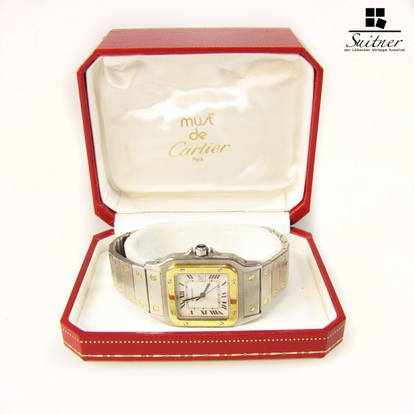 Cartier Santos Automatik Stahl Gold Box Datum Herren