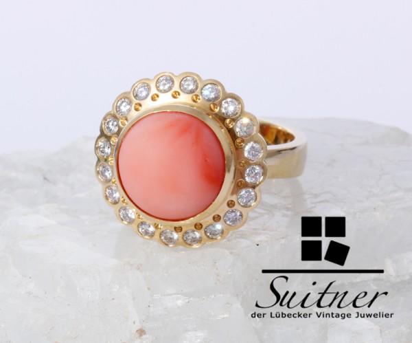 wertvoller Engelshautkoralle Ring mit 0,86ct Brillanten 750 Gold Gr. 59 Coral