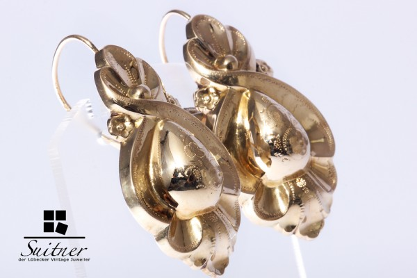 Biedermeier Ohrringe Hänger antik vintage ca. 585 Gold um 1850