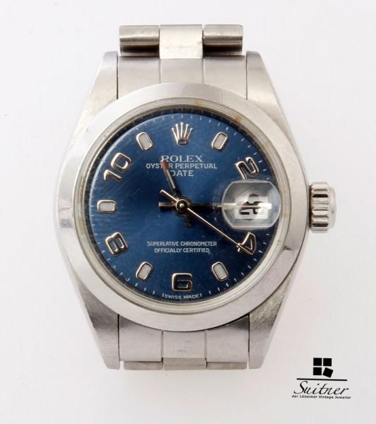 Rolex Date 79160 Oysterband blaues Zifferblatt Jahr 2000 Automatik