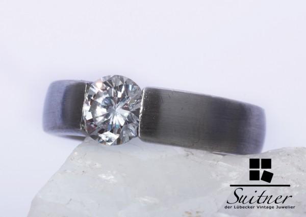 Luxus 1,10ct Brillant Ring lupenrein Platin Größe 57 Spannring F/TW Einkaräter