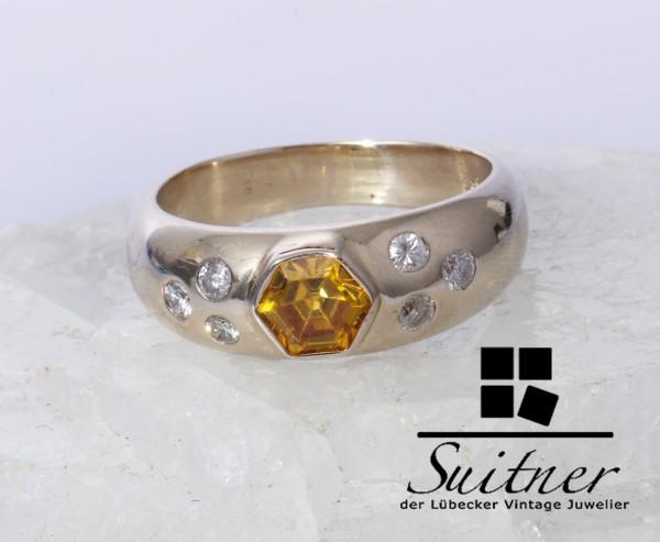 wertvoller Bandring mit Citrin und Brillant Ring aus 585 Weißgold Gr. 61