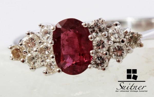 wertvoller 1,40ct. Rubin Ring mit Brillanten 585 Weißgold Taubenblut Rot
