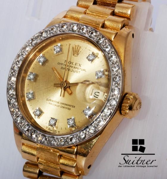 Rolex Lady Datejust Borke mit Brillanten Ref. 6927 aus 750 Gold Diamanten