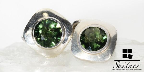Art Deco Manschettenknöpfe aus 835 Silber mit Turmalin grünen Steinen