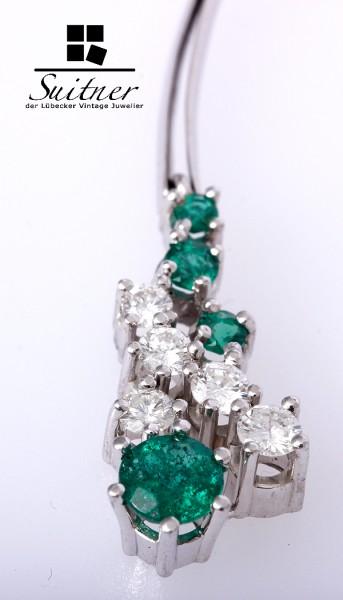 Paar Ohringe Ohrklemme Brillanten ca. 1,00 ct Smaragd 585 Weißgold