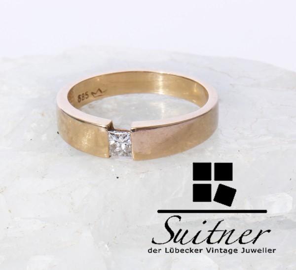 Spannring mit Princess Cut Diamant - Ring aus 585 Gold Gr. 51