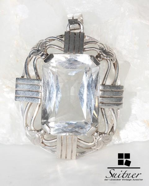 großer Jugendstil Anhänger mit Bergkristall Silber Art Nouveau XXL