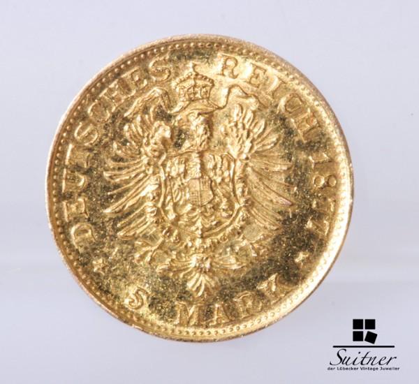 5 Mark Stück Deutsches Reich Gold 1877 A Kaiser Wilhelm