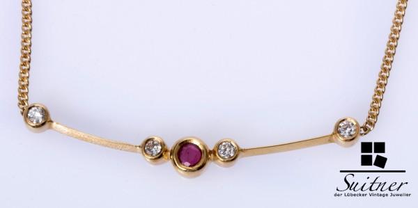 Art Deco Brillant Rubin Collier Kette aus 750 Gold 45cm Stab Kreis Design