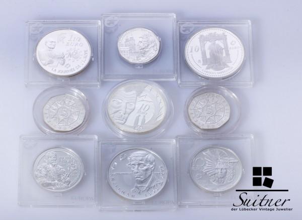 Konvolut von 9 Verschiedenen Silbermünzen alle PP Euro selten Proof